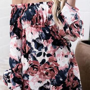 Strapless  Smocked Bodice  Abstract Print  Lantern Sleeve  Long Sleeve Casual Dresses