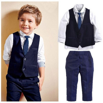 New Baby Kids Boys Tuxedo Suit Shirt Waistcoat Tie Pants Formal Outfits Clothes [9305906759]