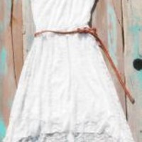 White Lace High Low Cowgirl Dress | Elusive Cowgirl - Western Wear, Cowgirl Clothing, Cowgirl Sunglasses
