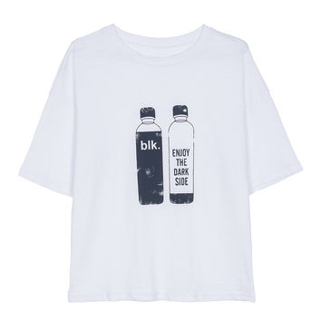 White Beverage Bottle And Letter Print T-shirt