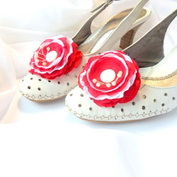 Shoe Clips, Red and white flowers, Silk Flower , Red wedding ,Wedding , Accessories wedding , Accessories women , Shoe Accessories