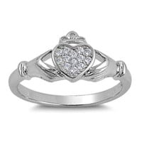 Sterling Silver CZ Irish Claddagh Ring size 5-10