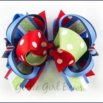 Boutique stacked bow, Girls hair bows, Red and navy bow, Big hair bow, Gymboree bow, M2MG HOLLAND DAYS, Hair bows for girls, Toddler hairbow
