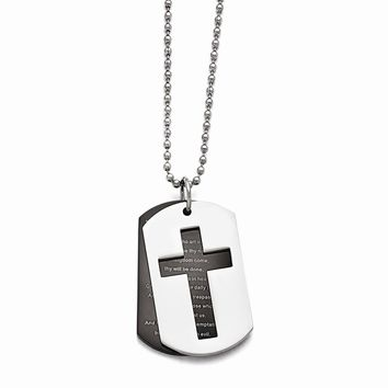 Stainless Steel Polished Black Ip-plated Lord\'s Prayer Necklace
