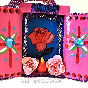 La Rosa Loteria Ornament / Assemblage / Collage / Paper Mache