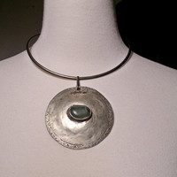 Vintage NEW AMSTERDAM SILVER Co. Huge Art  Modern Bohemian Runway Necklace Collar signed