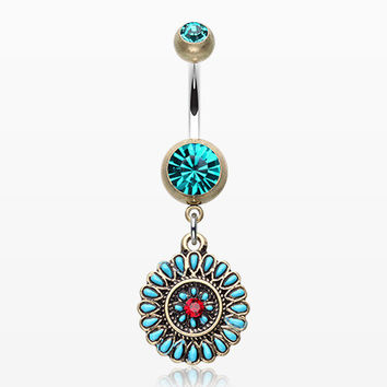 Vintage Boho Sahasrara Chakra Belly Button Ring