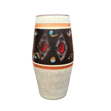 Vintage West German Pottery Vase / Red Tan Blue Atomic Diamond Pattern / Chic Mid Century Home Accent / Rustic Southwestern Color and Print