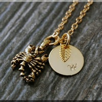 Gold Scorpio Zodiac Charm Necklace, Initial Charm Necklace, Personalized, Zodiac Horoscope Sign, Scorpion Pendant, Zodiac Scorpio Jewelry