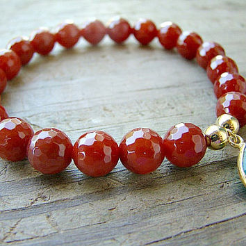 Gemstone Stretch Bracelet, Carnelian, Green, Onyx, Gold Bead Stacking Bracelet, Beaded Bracelet