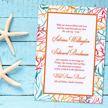 "Beach Wedding Invitation Card - Coral Branch Invitation - Watercolor Wedding Invitation ""Coral Frame"" Destination Wedding Invite DEPOSIT"