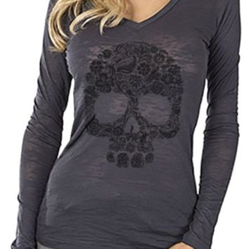 Women's Floral Skull Long Sleeve V-Neck Burnout Shirt