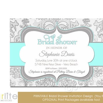Turquoise Gray Shimmer - Bridal Shower Invitation, tiffany blue Grey - vintage style, distressed chic - Printable Invitation, You Print