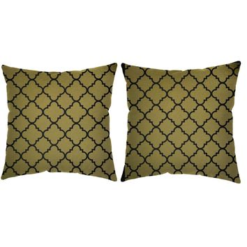 Metallic Gold Quatrefoil Throw Pillows