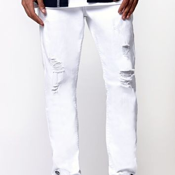 Bullhead Denim Co Stacked Skinny Destroyed Jeans - Mens Jeans - White