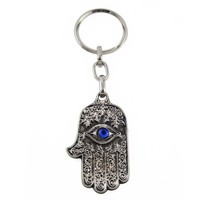 Silver-Tone Hamsa Hand Key Chain with Blue Lucky Eye