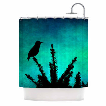"Sylvia Coomes ""Bird Silhouette"" Teal Black Shower Curtain"