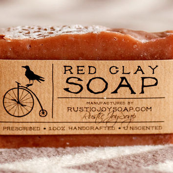 Red Clay Soap - Rustic soap,All Natural Soap,Handmade Soap,Unsected Soap,red clay.
