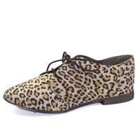 Women's Breckelle's Sandy-21 Animal Prints Laced Up Oxford Fashion Shoes