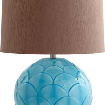 0-024809>Aqua Leaf 1-Light Table Lamp Blue Glaze