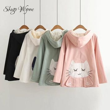 Trendy Shugo Wynne 2017 Autumn New Women Sweet Preppy Style Hooded Cute Fish Embroidery Cat Patch Long Sleeve Jacket Casual Coat AT_94_13