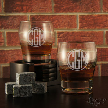 Personalized Whiskey Snifter with Monogram Designs & Font Selection OPTIONAL Four (4) Whiskey Stones or Engraved Stones Per Glass