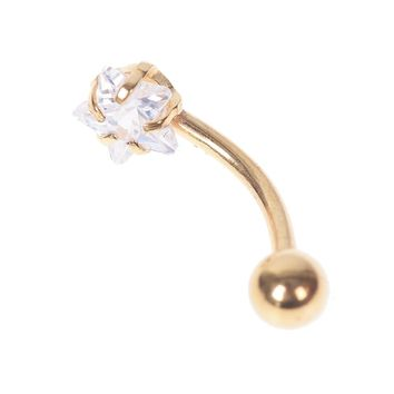 1Pc Surgical Steel Eyebrow Rings Internally Threaded Eyebrow Ring Curved Barbell Piercing Cartilage Body Star Crystal Jewelry
