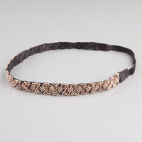 Full Tilt Beaded Headband Bronze One Size For Women 23456244101