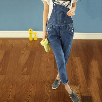 2016 Hot Sale Washed Summer Overalls For Women Girl's Fashion Overall Jeans Femme Straps Denim Jumpsuits Salopette Pants XS