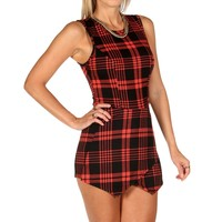 Sale-black Plaid Skort Romper