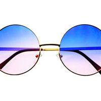 Retro Vintage Style Blue Pink Lens Gold Metal Round Sunglasses R1593 – FREYRS - Sunglasses at Affordable Prices