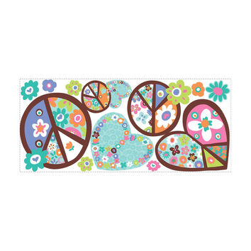Roommates Home Indoor Room Decorative Wallpaper Sticker Hearts and Peace Signs Giant Wall Decals
