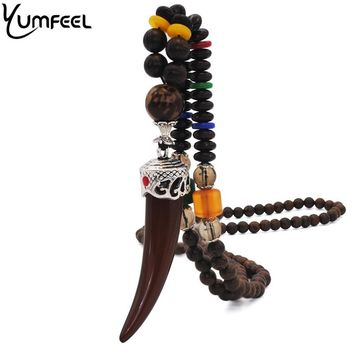 Yumfeel Nepal Buddhist Mala Wood Beads Necklaces