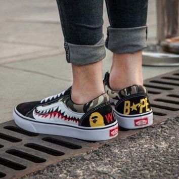 Gotopfashion Vans Bape Aape Shark tooth Old Skool Custom Low Sneakers Convas Casual Shoes I-FEU-SY