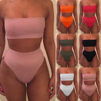 Sexy Solid Berif bandeau bikini Set high waist swimsuit Women bathing suit swimwear Swimsuit 2017 maillot de bain biquini