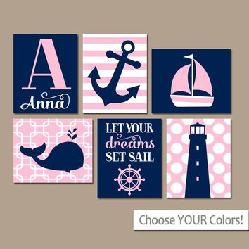 GIRL Nautical Wall Art,Baby Nautical Nursery Decor,Pink Navy Bedroom Wall Decor,Coastal Decor,Anchor Sailboat Whale,CANVAS or Print,Set of 6