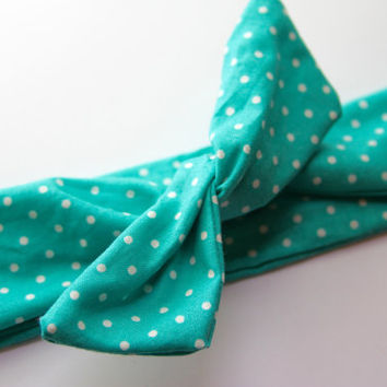 Teal/Blue Green & White Polka Dots Polka Dot Dolly Bow Tie Up Wire Headband, Hair Wrap. Teens, Adults, Children's Hair Wraps
