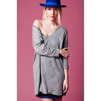 Gray long knit sweater with deep V neck