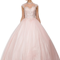 High Neck Corset Back Embroidered Bodice Quinceanera Dress Blush