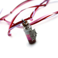 Fairy Necklace with Charm Red, Pink, White