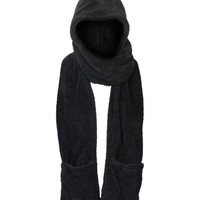 Hooded Pocket Scarf in Black – bandbcouture.com