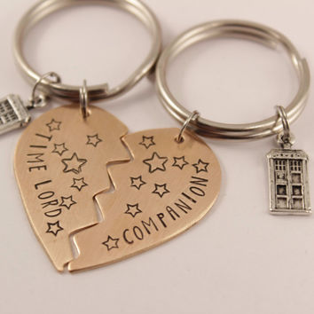 Time Lord / Companion Copper Broken Heart Keychain set with TARDIS - Doctor Who - Couples Keychain Set