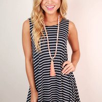 Stripes On Repeat Trapeze Dress in Navy