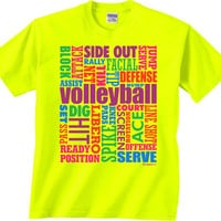 Very Bright Florescent Yellow Neon Volleyball 'Words' Short Sleeve T-Shirt