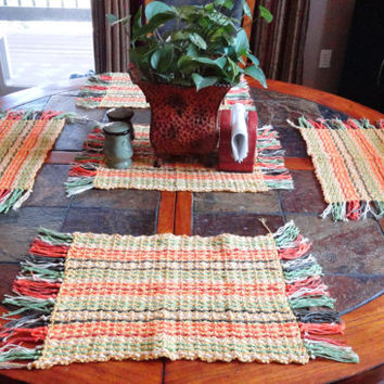 "4 Placemats, 1 Center Piece, for Spring or Summer decor,Bright Yellow & multi, 20"" by 13"" w/ fringe,Made with Cotton Yarn,Free Shipping USA"