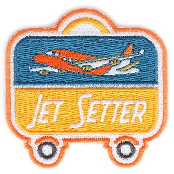 Jet Setter Embroidered Sew or Iron-on Backing Patch