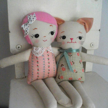 PINKHAIRED RAGDOLL - Classic handmade cloth doll plush toy rag doll gift for girls