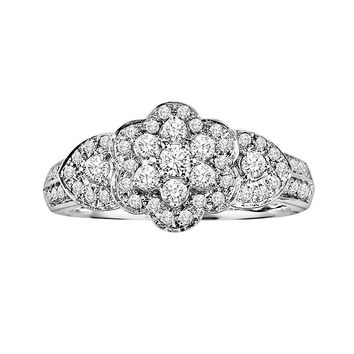 Cherish Always 10k White Gold 1/2-ct. T.W. Diamond Flower Ring