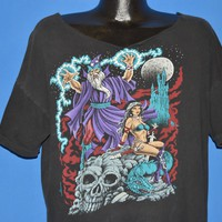 90s Merlin Wizard Outer Space Skull t-shirt Extra Large