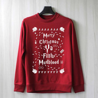 Merry Christmas Ya Filthy Mudblood Harry Potter Shirt Sweatshirt Sweater Shirt – Size XS S M L XL